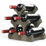 Rustic Wood Countertop Wine Rack For 4 Bottles Wine Storage Stand Holder Bar Tools Accessories Edemia Kitchen Dining Bar Supplies