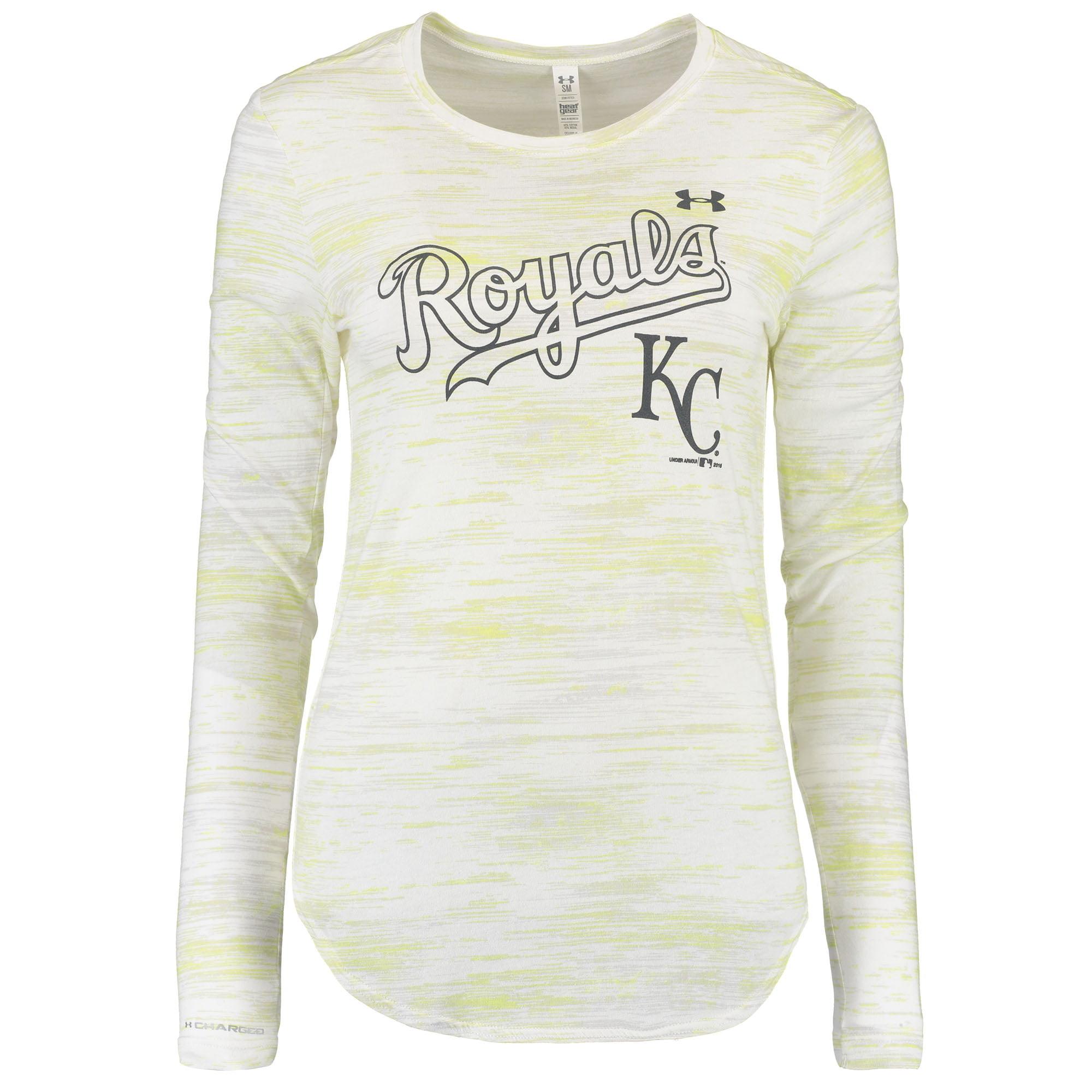 Kansas City Royals Under Armour Women's Novelty Long Sleeve Performance T-Shirt - White/Gold