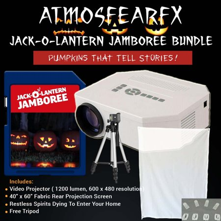 Halloween Jack-O'-Lantern Jamboree Video Projector kit with tripod and window screen (Tri Peaks Solitaire Halloween)