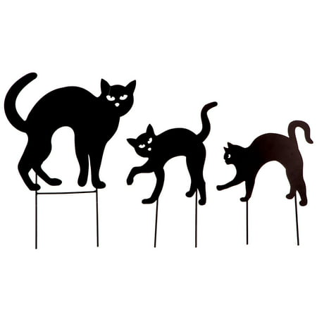 Metal Black Cat Stakes, Set of 3 by Fox River CreationsTM Halloween Outdoor Yard - Car Halloween Decorations
