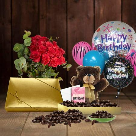 105th Birthday Gift Basket Plush Teddy Bear Premium California Vegan Chocolate Coated Raisins 1 Lbs Personalized Handwritten Card