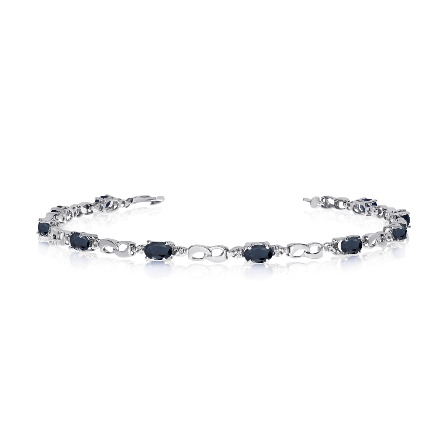 14K White Gold Oval Sapphire and Diamond Link Bracelet by