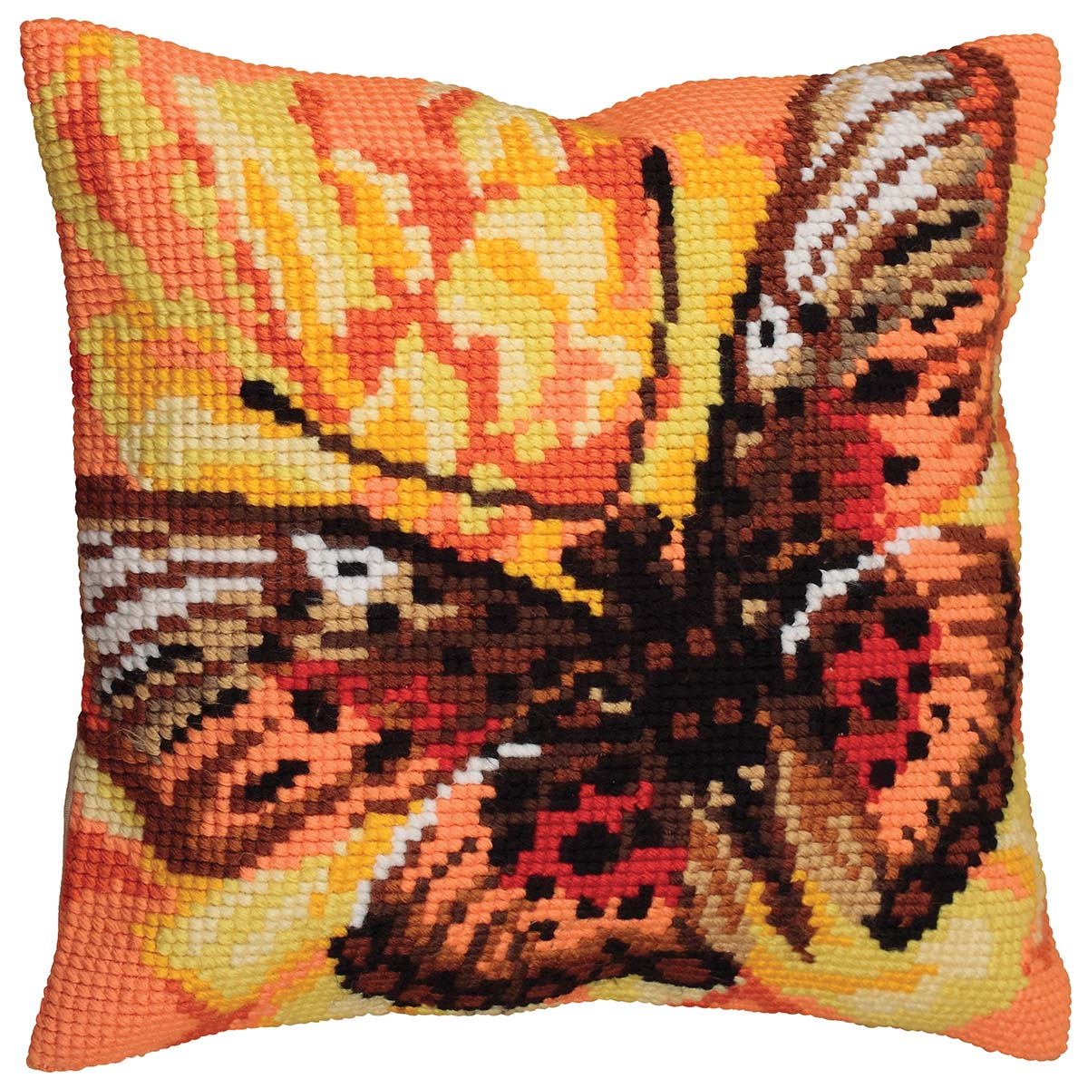 Collection D'Art Flame-Butterfly Pillow Cover Needlepoint Kit