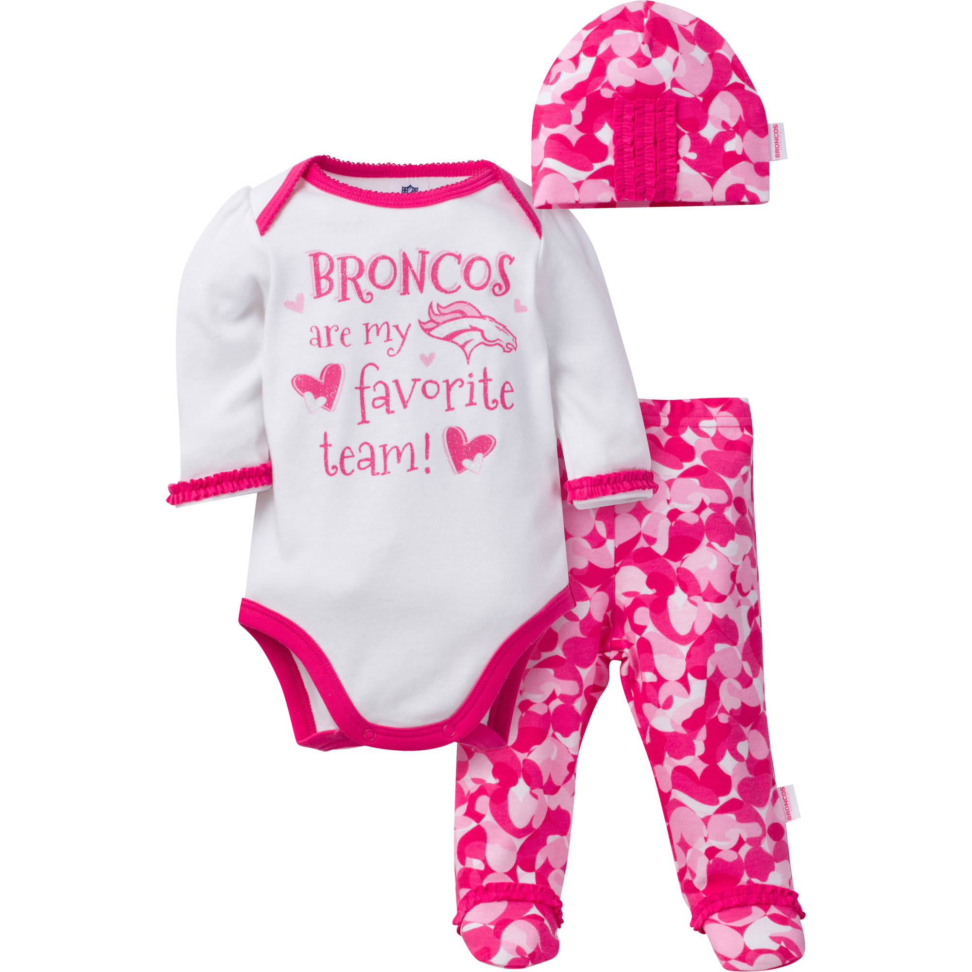 NFL Denver Broncos Baby Girls Bodysuit, Pant and Cap Outfit Set, 3-Piece