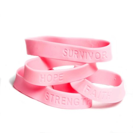 Breast Cancer Rubber Bracelets, Imprints By Fun Express