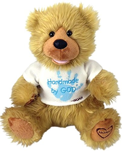 Chantilly Lane G1060 12 In. Noah Bear Hand Made By God Bear With Blue Shirt Toy