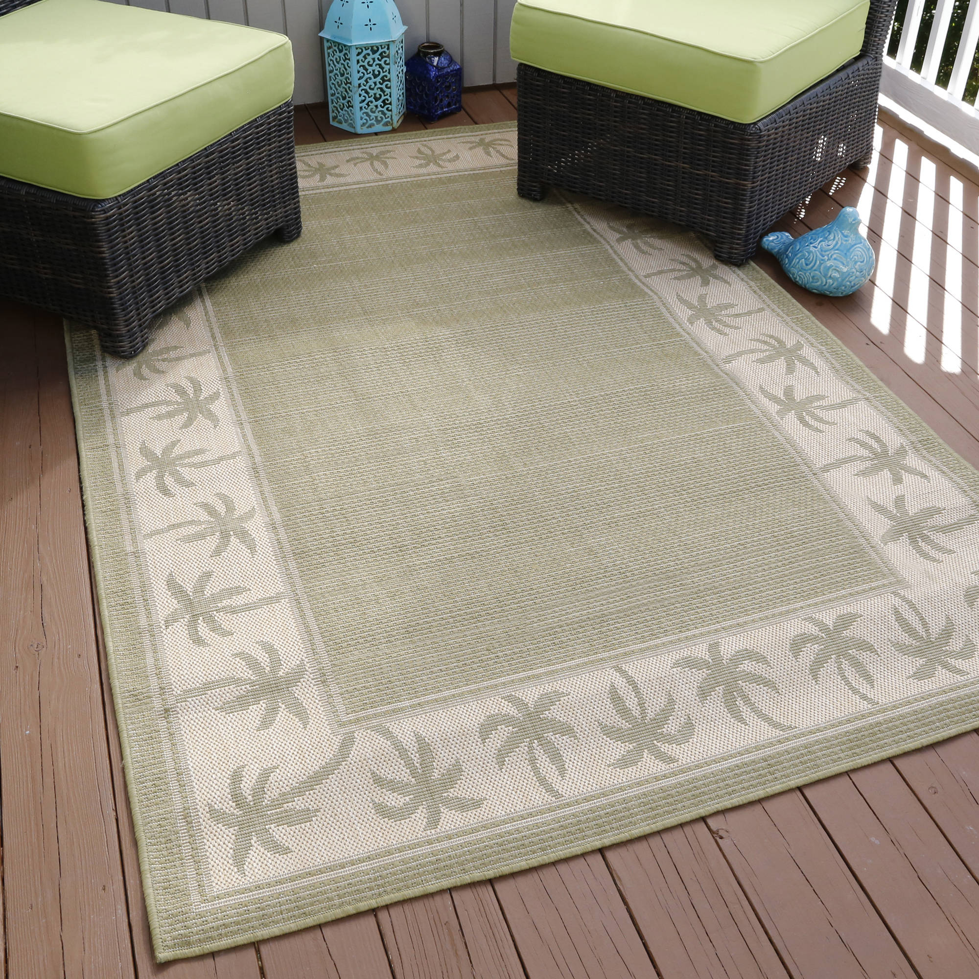 Somerset Home Palm Trees Indoor/Outdoor Area Rug, Green, 5' x 7'7""