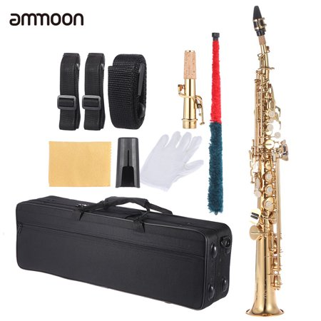 (ammoon Brass Straight Soprano Sax Saxophone Bb B Flat Woodwind Instrument Natural Shell Key Carve Pattern with Carrying Case Gloves Cleaning Cloth Straps Cleaning Rod)