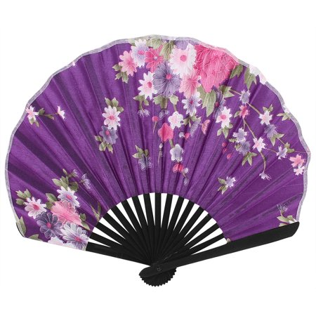 Wedding Party Decor Bamboo Frame Fabric Floral Print Folding Hand Fan Purple - image 3 de 3
