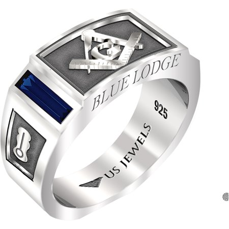 Men's 8mm 0.925 Sterling Silver Blue Lodge Simulated Sapphire Masonic Ring Band (Masonic Oval Mens Ring)