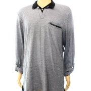 INC NEW Black Mens Size 2XL Roll-Tab Polo Rugby Striped Pleather Trim Shirt