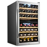 Ivation 43 Bottle Dual Zone Wine Cooler Refrigerator w/Lock | Large Freestanding Wine Cellar For Red, White, Champagne & Sparkling Wine | 41f-64f Digital Temperature Control Fridge Stainless Steel
