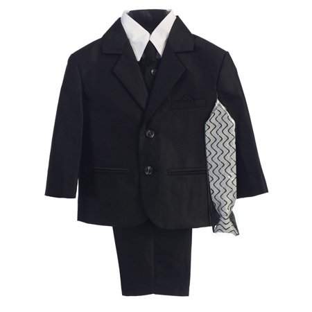 Little Boys Black Two-button Herringbone Pattern Special Occasion Suit 2
