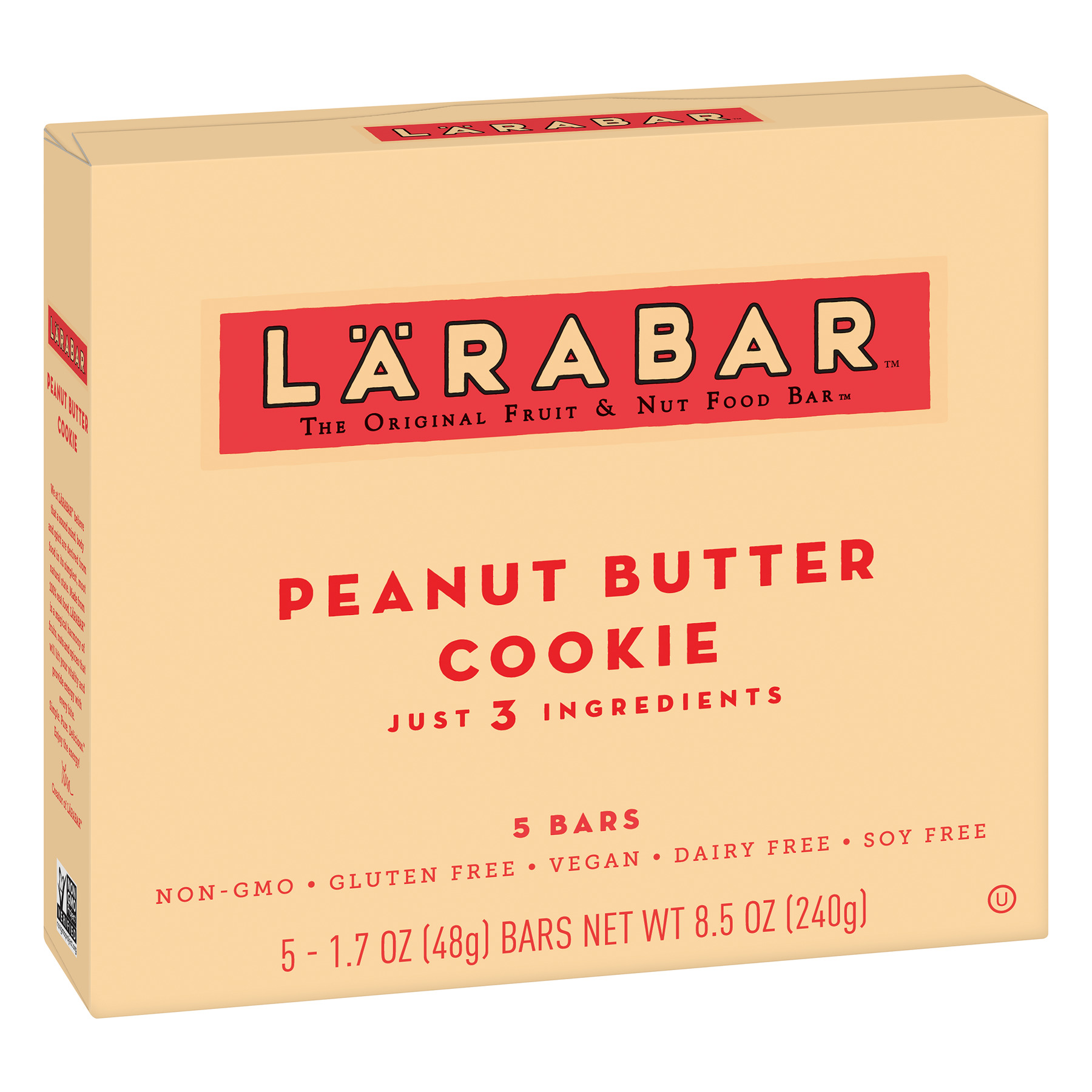 Larabar Gluten Free Bar, Peanut Butter Cookie, 1.7 oz Bars (5 Count)