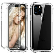 """iPhone 11 Pro Max 6.5"""" Case with Built in Screen Protector, Allytech Full Body Shockproof Dual Layer High Impact Protective Anti-Scratch Soft TPU Cover Cases for iPhone 11 Pro Max 6.5 inch 2019,Clear"""