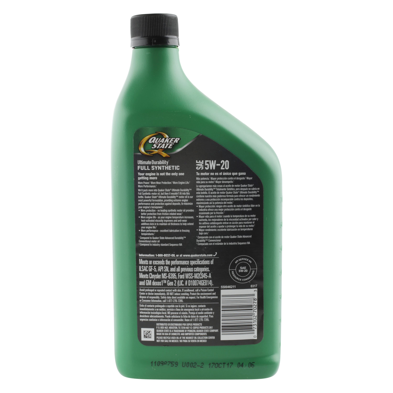 Quaker State Ultimate Durability Full Synthetic Motor Oil, 5W-20, 1 quart