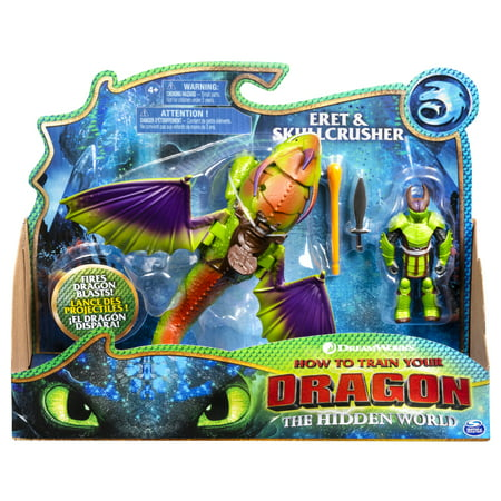 DreamWorks Dragons, Eret and Skullcrusher, Dragon with Armored Viking Figure, for Kids Aged 4 and Up