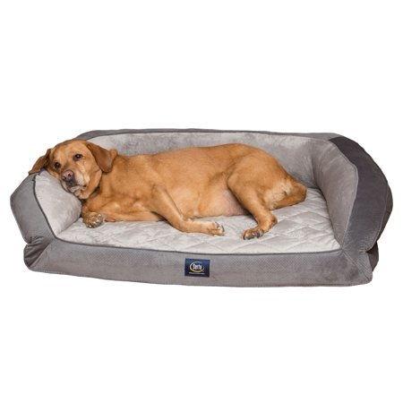 Serta Pet Beds Orthopedic Gel Memory Foam Quilted Couch Dog Bed, Extra Large,