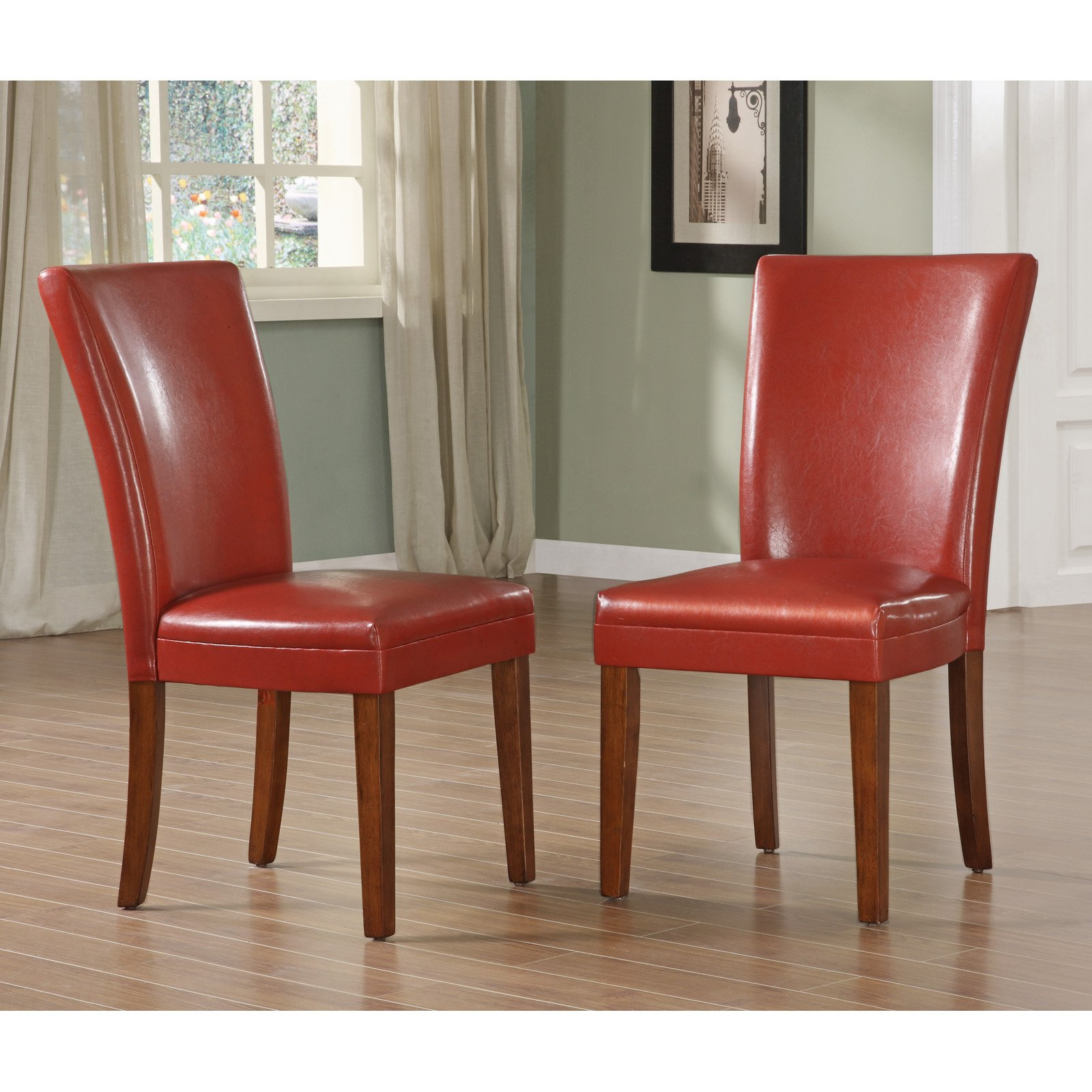Homelegance Achillea Red Parsons Chair - Set of 2