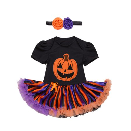 StylesILove Infant Baby Girl Halloween Short Sleeve Cotton Romper Tutu Party Dress and Headband 2 pcs Outfit Set (S/0-3 Months, Black) - Black And Orange Outfit For Halloween