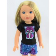 Sparkly Kitty Short Set -Fits 14 Inch Wellie Wisher Dolls | 14 Inch Doll Clothing