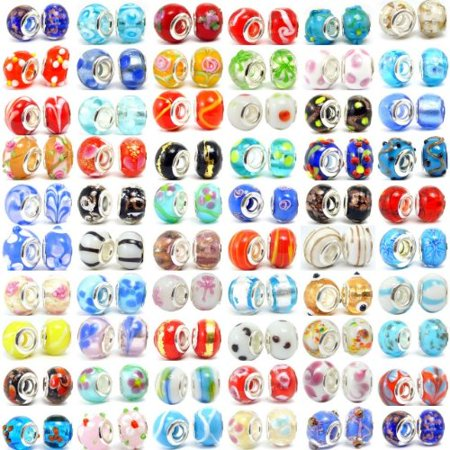 200pc Lot Silver Lampwork Murano Glass European Mix Fits Most Pandora Style Charm Bracelets ()
