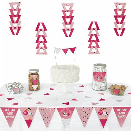 Girl Special Delivery - Triangle Pink It's A Girl Stork Baby Shower Decoration Kit - 72 Piece