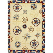 5' x 7' Nautical Sailing Compass Hand Hooked Area Throw Rug