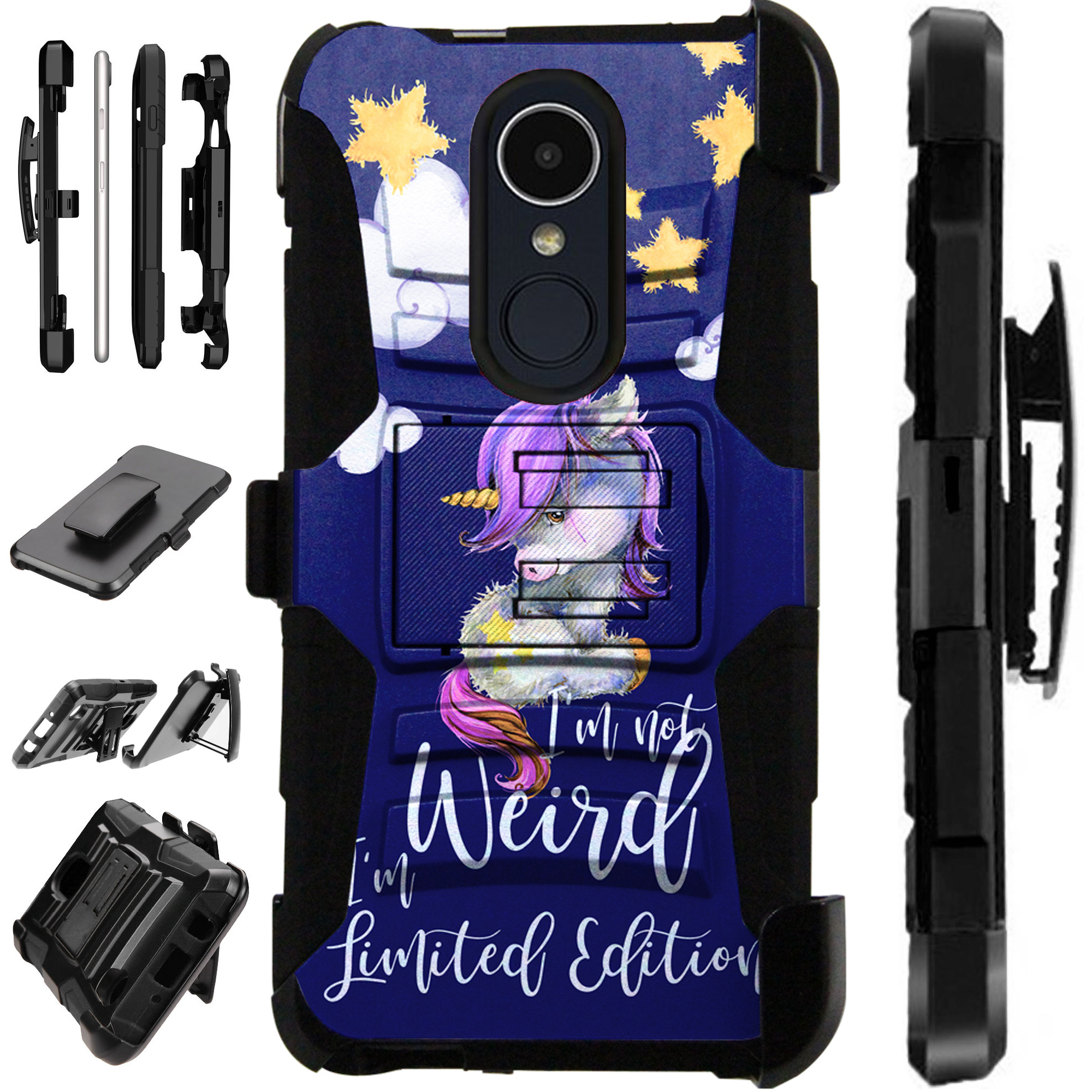 For LG Xpression Plus (2018) Case Armor Hybrid Silicone Cover Stand LuxGuard Holster (I Am Unicorn)