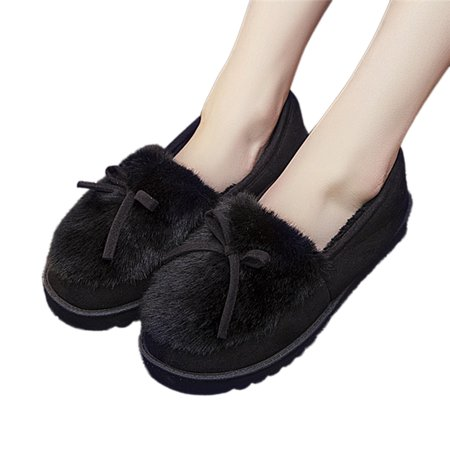 619576a028c Girl12Queen - (Asian Size)Winter Women Bowknot House Indoor Slippers Soft  Warm Faux Fur Home Slip-on Shoes - Walmart.com