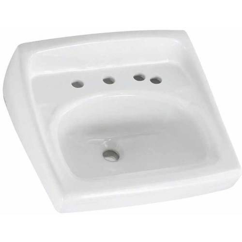 American Standard 0356.037.020 Lucerne Wall Mounted Lavatory Sink for Wall Hangers (included) or Concealed Arms (not included) with Three Faucet Holes (8 Centers) and Extra Right-Hand Hole, White