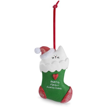 Pavilion - Baby's First Christmas Stocking Clay Cat Ornament 2.5 Inch
