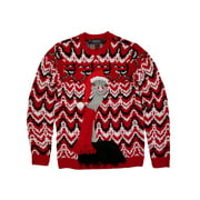 Mens Ugly Christmas Ostrich Scarf Holiday Knit Crewneck Sweater