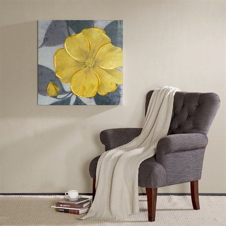 Madison Park Yellow Bloom Hand Embellished Canvas Yellow 30x30x15