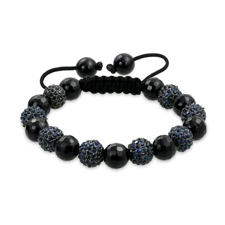 Shamballa Inspired Bracelet Black Simulated Onyx Beads 10mm