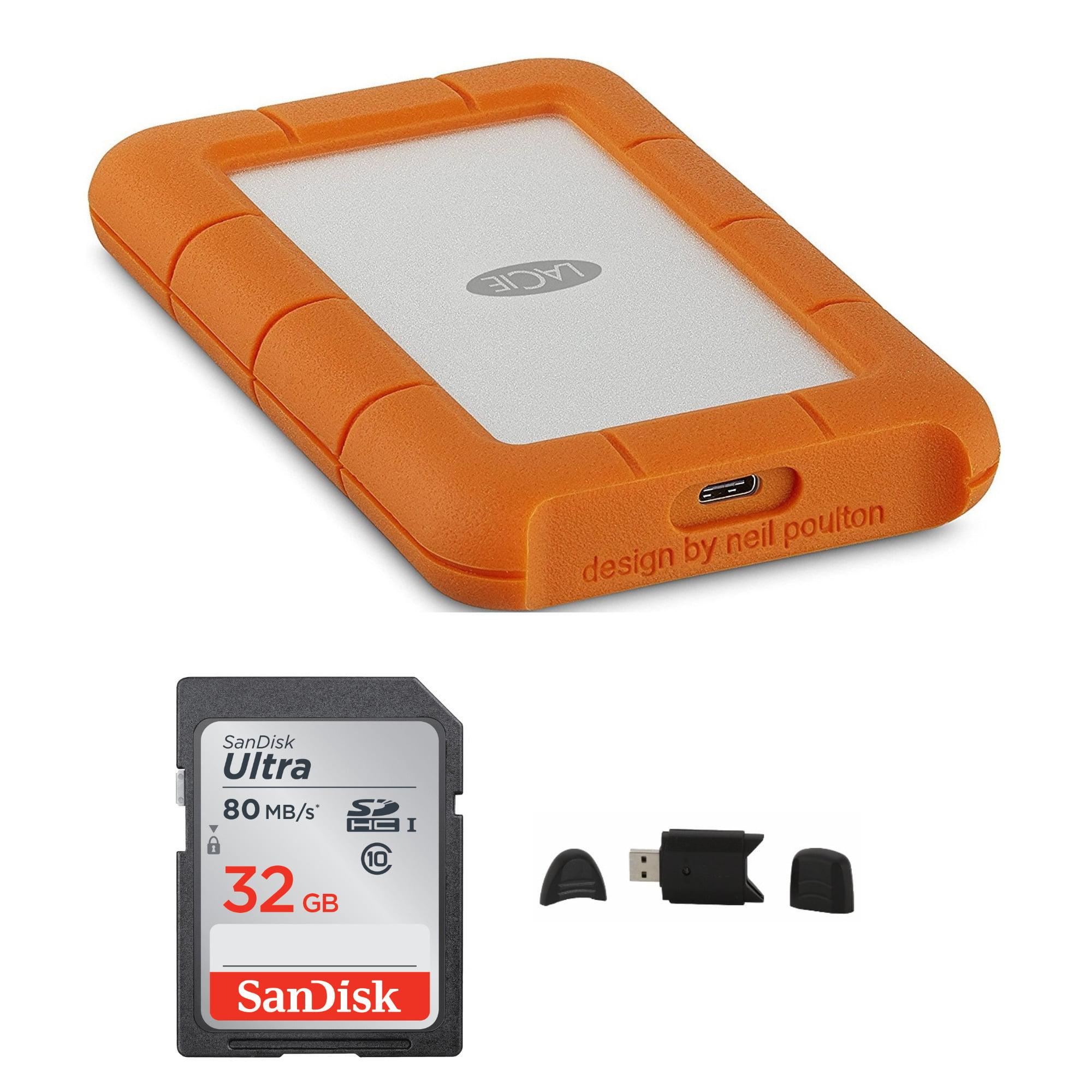 LaCie Rugged USB-C 4TB Portable External Hard Drive with 32GB Card Bundle