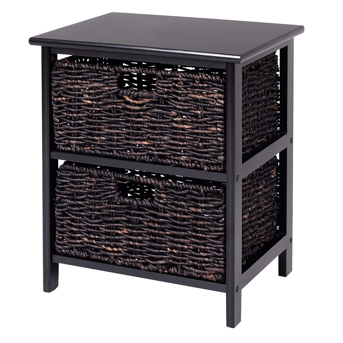 Costway Wood End Accent Table Home Furniture Living Room Night Stand W 2 Storage Baskets by Costway