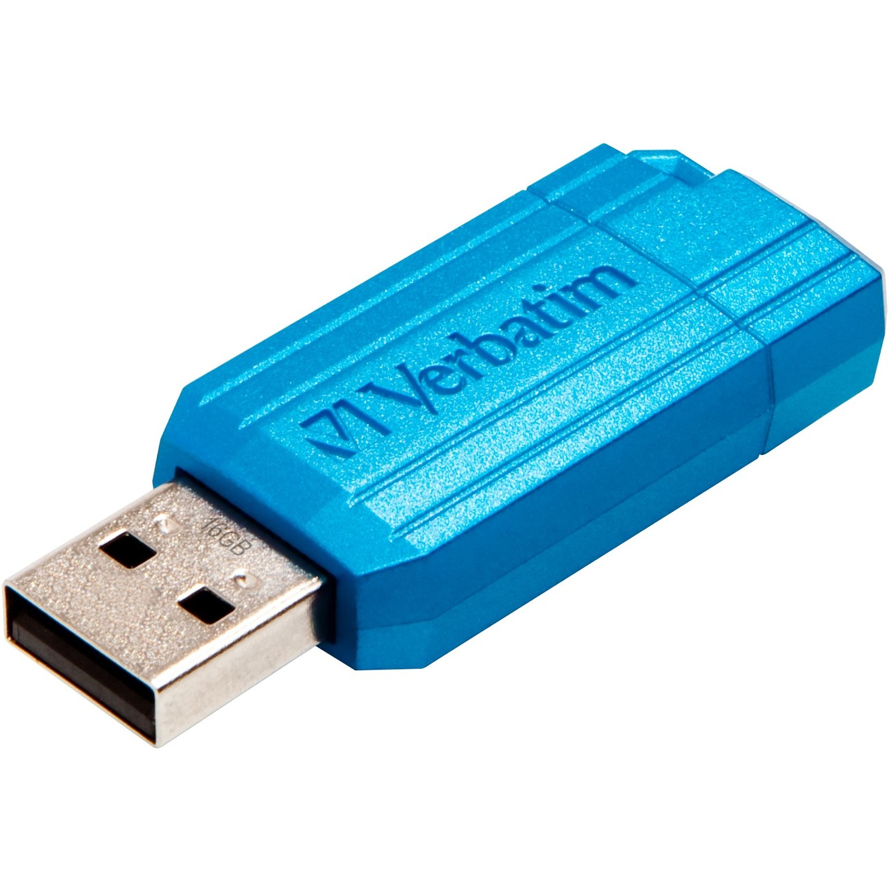 Verbatim 16GB PinStripe USB Flash Drive - Carribean Blue (49068)