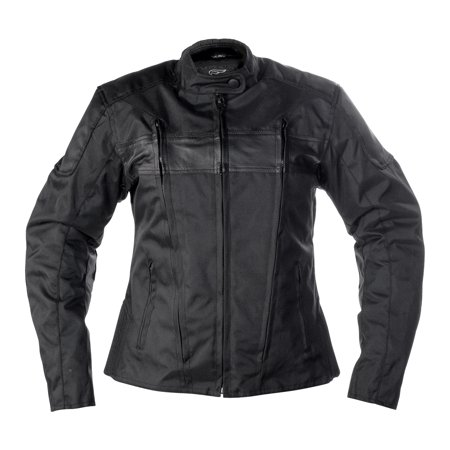 Women's Fulmer Stealth Jacket Ladies Motorcycle Riding Coat Polyester/Leather ()