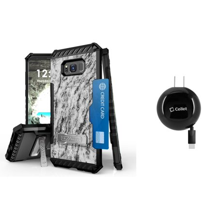 Samsung Galaxy S8+ Plus (2017) - Accessory Bundle with Tri-Shield [Military-Grade] Rugged Kickstand Case - [Gray Marble], [15W / 3A] Retractable Type-C USB Wall Charger [2.3 ft.], Atom LED