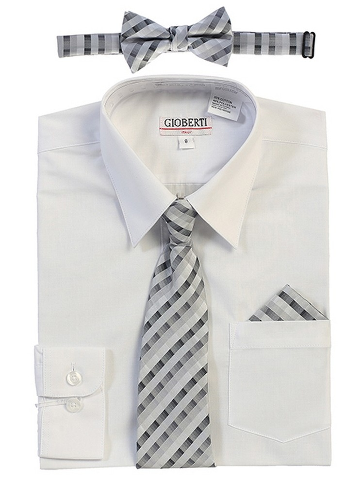 Gioberti Big Boys White Tie Bow Tie Handkerchief Dress Shirt 4 Pc Set
