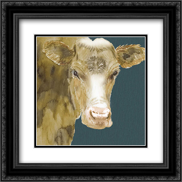 Hogans Brown Cow 2x Matted 20x20 Black Ornate Framed Art Print by Dyer, Beverly
