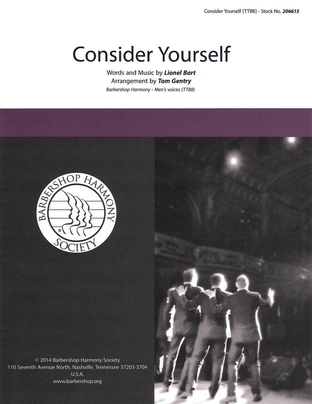 Barbershop Harmony Society Consider Yourself (from Oliver) TTBB A Cappella arranged by Tom... by