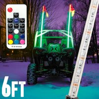 Krator 6ft Multi-Color LED Whip Light with Remote Control and American USA Flag - LED Antenna Whip Light for Sand Dune Buggy, ATV, UTV, RZR, Jeep, Trucks, and Other Off-Road Vehicles