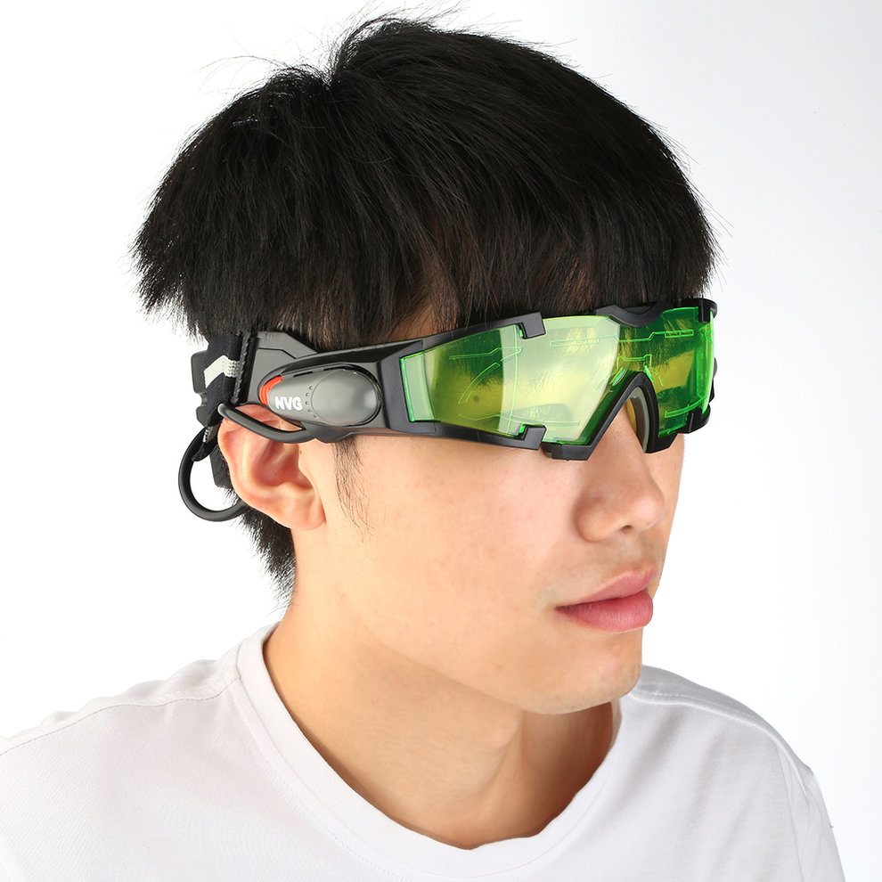 Adjustable LED Night Vision Goggles With Flip-Out Lights Eye Lens Glasses by