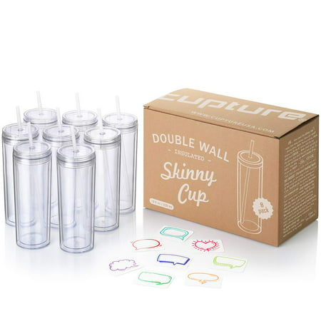 Cupture Skinny Acrylic Tumbler Cups with Straws - 18 oz, 8 Pack (Clear) - Tumbler Cups Bulk