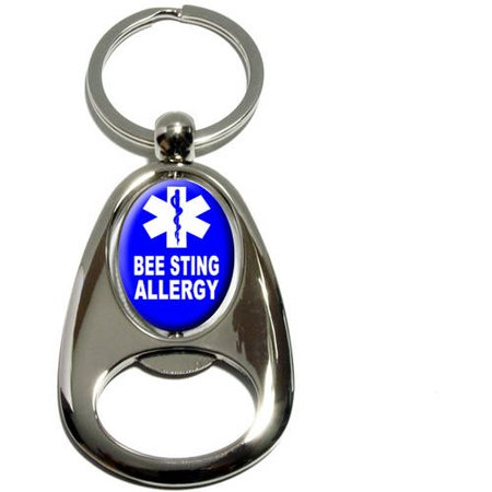 Rings Sting Scabbard (Bee Sting Allergy, Medical Emergency, Star of Life, Chrome Plated Metal Spinning Oval Design Bottle Opener Keychain Key Ring)