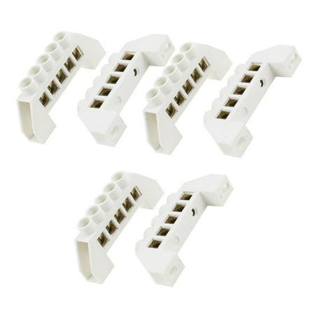 Copper Tone 5 Holes Screw Terminals Block Connector 6pcs