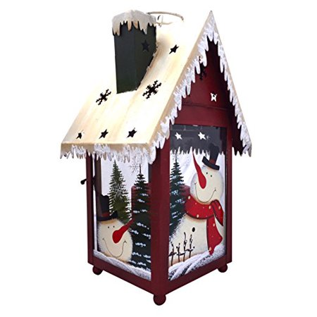 Christmas Snowman Lantern Decoration - Decorative Holiday Table Centerpiece or Hanging Lantern Holder for Pillar Candle or LED Light. Indoor Use](Snowman Centerpiece)