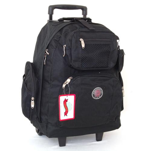 "18"" Wheeled Backpack Roomy Rolling Book Bag W/ Handle Carry on Luggage Back Pack Black One Size"